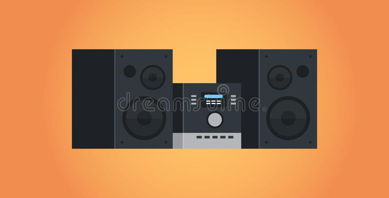 Электрическая квартира концепции систем HI FI студии значка прибора домашних аудиосистем ядровая иллюстрация вектора