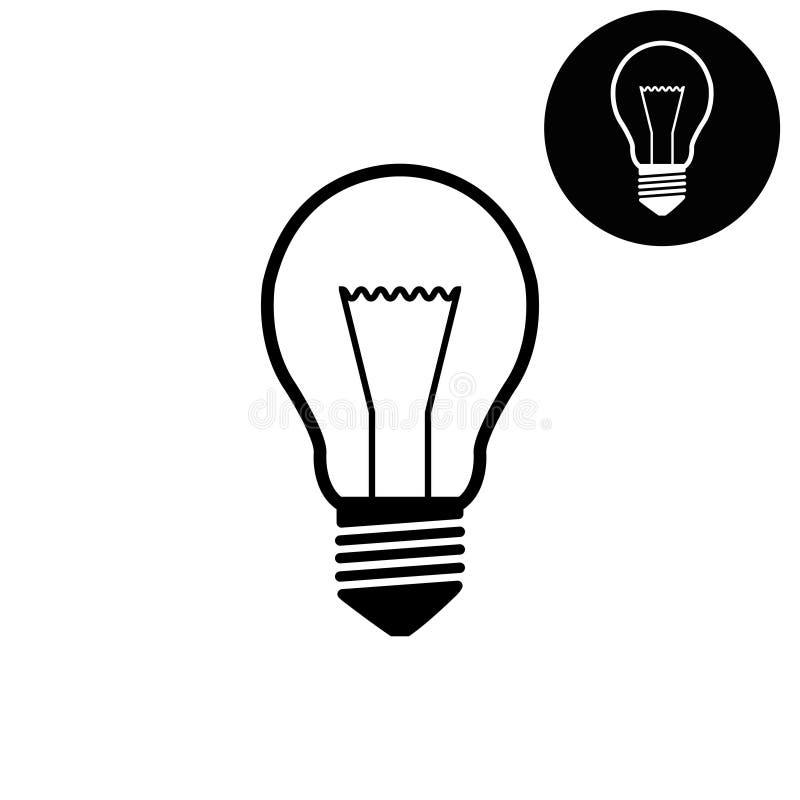 Электрическая лампочка - белый значок вектора иллюстрация штока