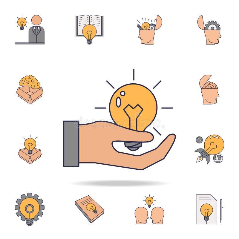"""электрическая лампочка в значке цвета fild человека \ """"руки s Детальный набор значков идеи цвета Наградной графический дизайн Одн бесплатная иллюстрация"""