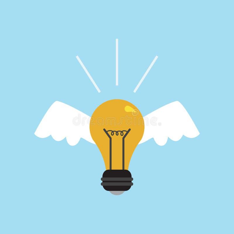 Электрическая лампочка иллюстрации вектора с крыльями и лучами светя Символ энергии и идей Украшение для поздравительных открыток бесплатная иллюстрация