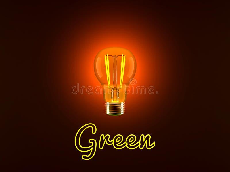 Электрическая лампочка и зеленый цвет иллюстрация штока
