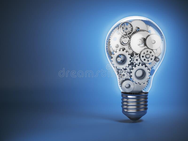Электрическая лампочка и шестерни передвижное perpetuum Нововведение, творческие способности иллюстрация штока
