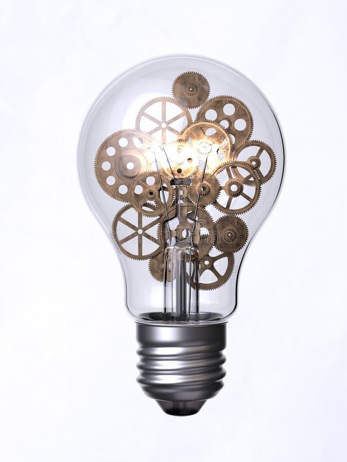 Электрическая лампочка и шестерни иллюстрация вектора