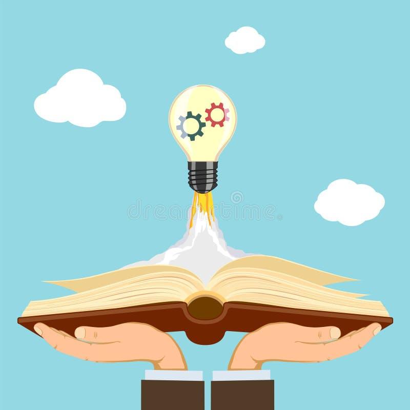 Электрическая лампочка как ракета летает в небо Человеческие руки держа иллюстрация вектора