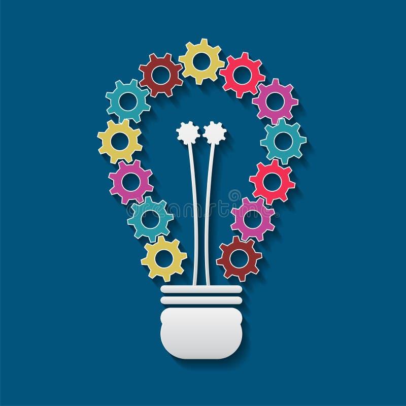 Электрическая лампочка которая имеет красочных шестерней красивых вектор изображения иллюстраций download готовый бесплатная иллюстрация