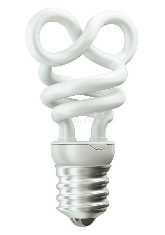 Электрическая лампочка символа безграничности на белизне иллюстрация вектора