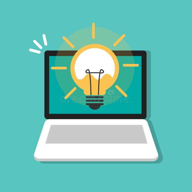 Электрическая лампочка с блеском лучей Символ энергии и идеи на ноутбуке, значке компьютера иллюстрация вектора