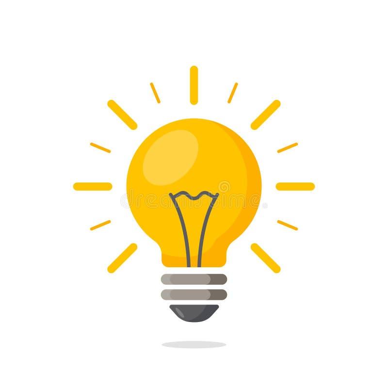 Электрическая лампочка с блеском лучей Символ энергии и идеи бесплатная иллюстрация