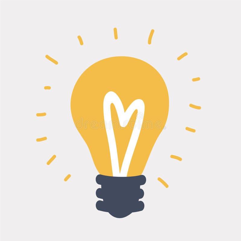Электрическая лампочка с блеском лучей иллюстрация штока