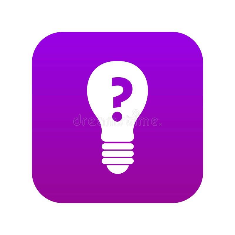 Электрическая лампочка с вопросительным знаком внутри пурпура значка цифрового бесплатная иллюстрация