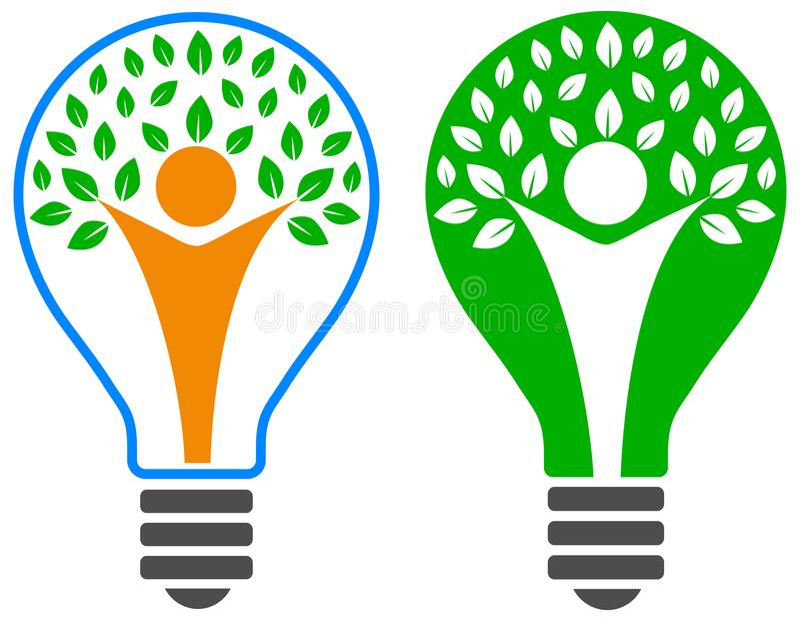 Электрическая лампочка с логотипом дерева людей бесплатная иллюстрация