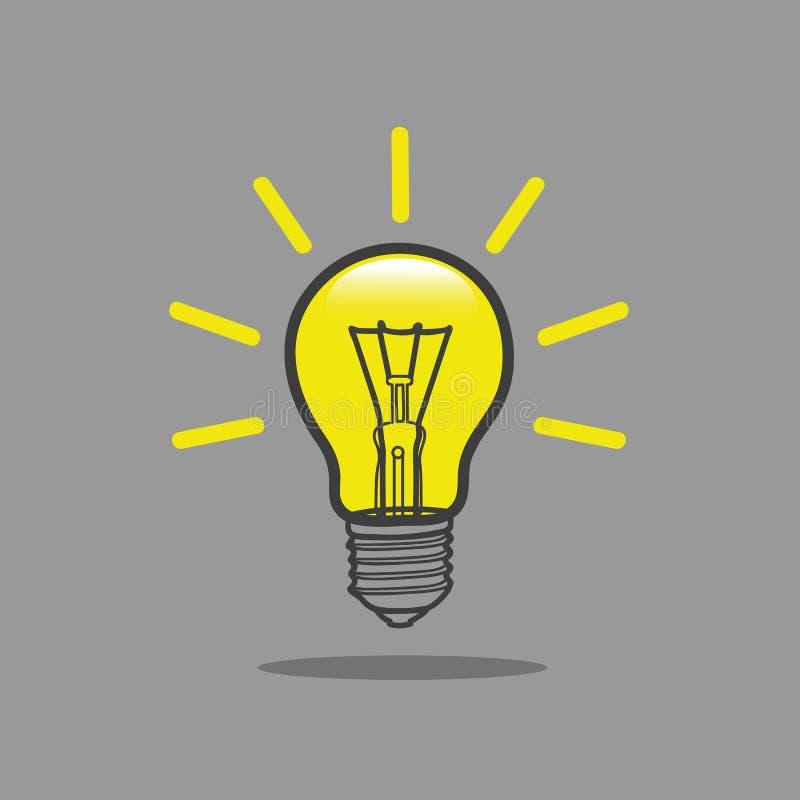 Электрическая лампочка с лучами светит символу энергии и идеи бесплатная иллюстрация