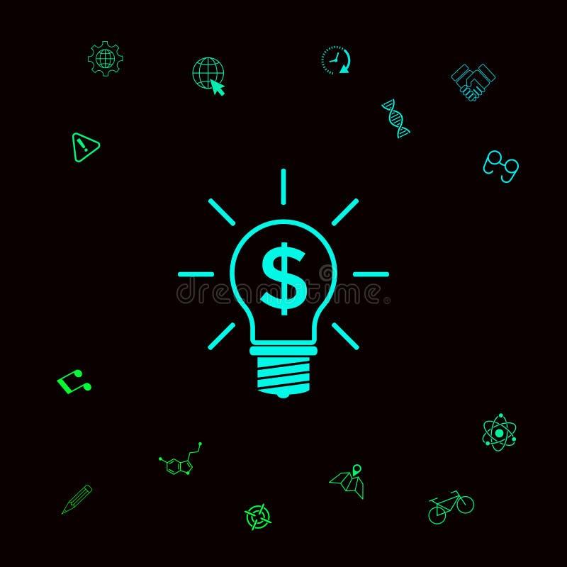 Электрическая лампочка с принципиальной схемой дела символа доллара Графические элементы для вашего designt иллюстрация вектора
