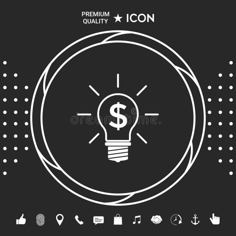 Электрическая лампочка с принципиальной схемой дела символа доллара Графические элементы для вашего designt бесплатная иллюстрация