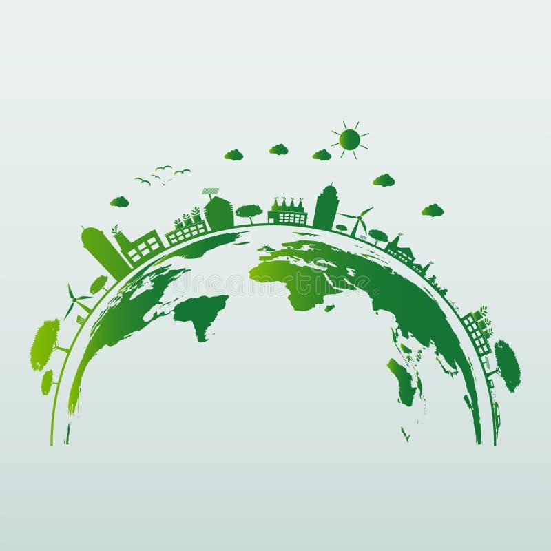 Электрическая лампочка экологичности энергосберегающая, зеленые города помогает миру с дружественными к эко идеями концепции такж иллюстрация штока