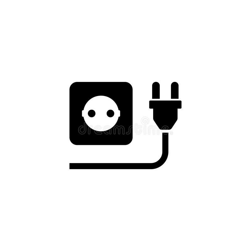 Электрическая штепсельная вилка с значком вектора выхода силы плоским бесплатная иллюстрация