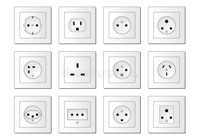 электрические гнезда всемирно иллюстрация штока