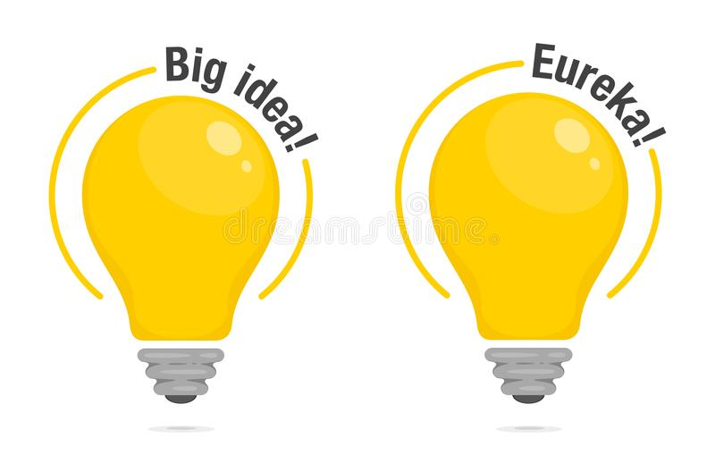 Электрические лампочки большой идеи и Eureka! Желтые накаляя электрические лампочки с текстом Символ идеи, решения и думать Плоск иллюстрация вектора