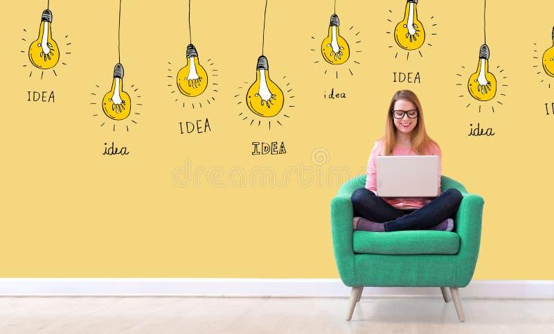 Электрические лампочки идеи с женщиной используя ноутбук стоковые изображения
