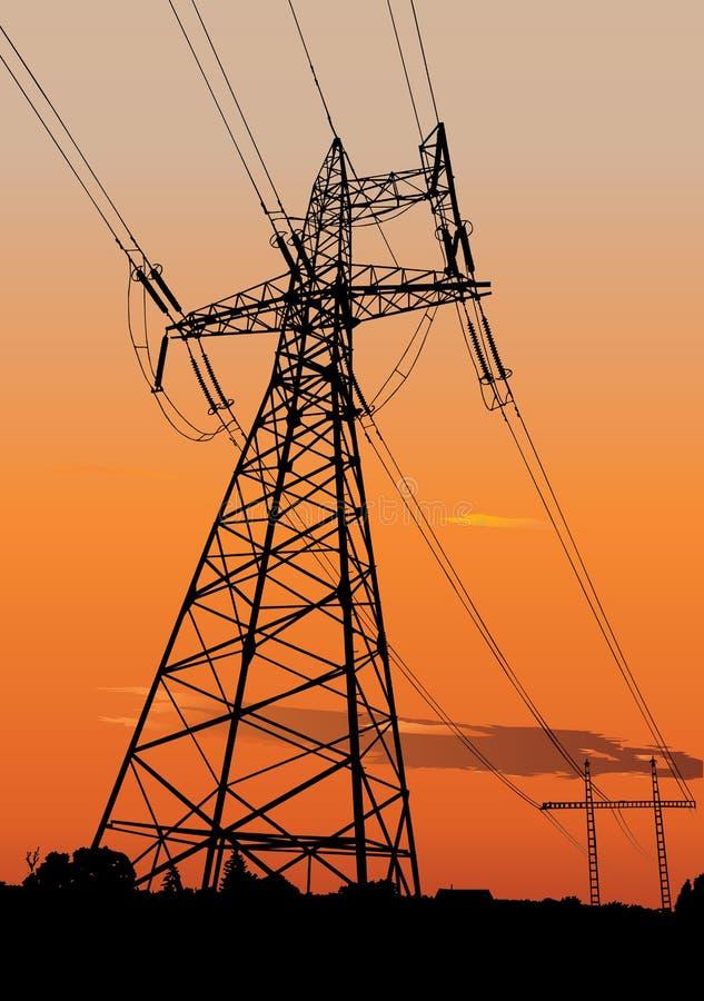 электрические линии приводят опоры в действие иллюстрация вектора