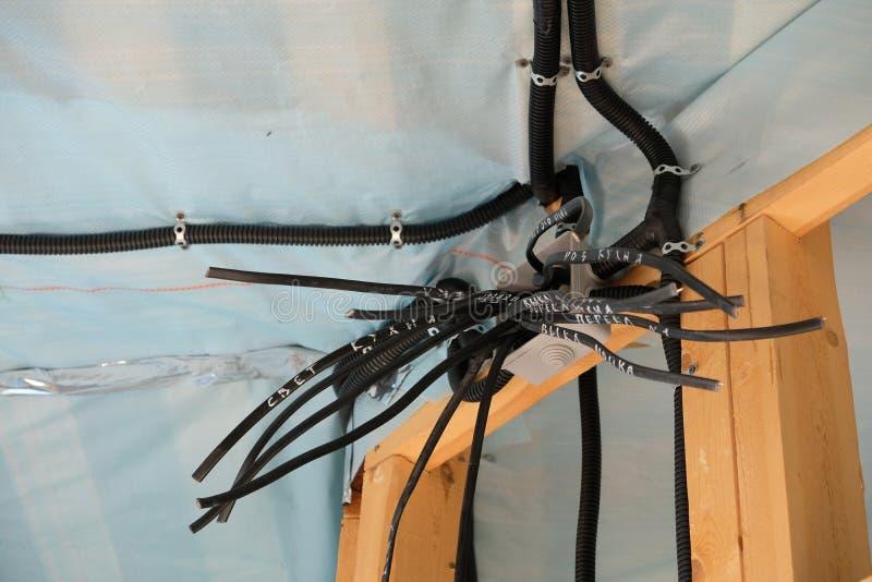 Электрические провода в доме стоковые фото