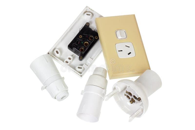 Электрические штепсельные вилки стены и Oulets стоковое изображение rf