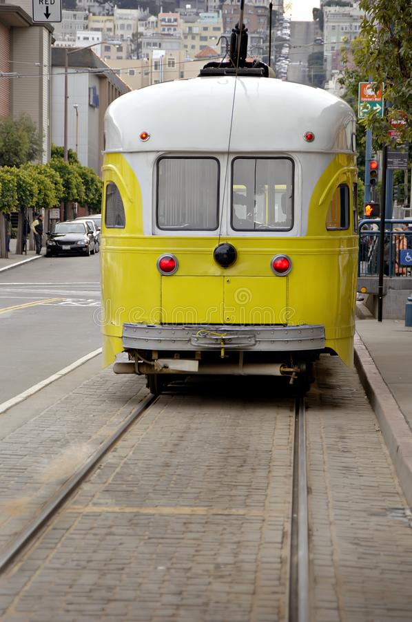 Электрический автомобиль вагонетки в Сан-Франциско Стоковые Фото