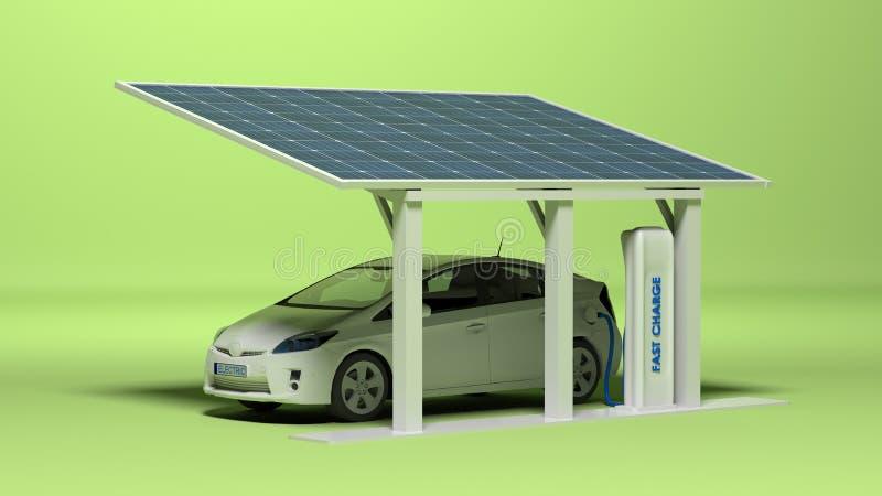 Электрический автомобиль с электрической штепсельной вилкой иллюстрация штока