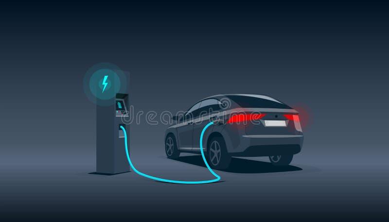 Электрический автомобиль Suv поручая на станции заряжателя на ноче бесплатная иллюстрация