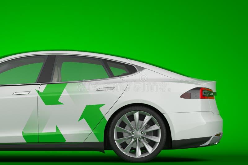 Электрический белый современный автомобиль со стрелой для рециркуляции на зеленом фоне 3d рендеринг Экологичный транспорт иллюстрация штока