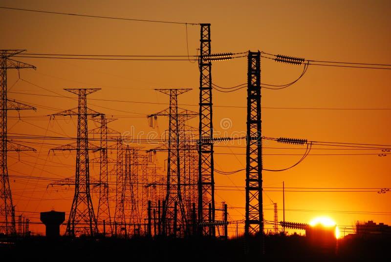 электрический заход солнца стоковые фото
