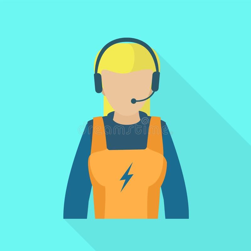 Электрический значок женщины центра телефонного обслуживания, плоский стиль иллюстрация вектора