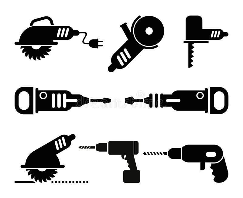 Электрический комплект иконы вектора инструментов иллюстрация вектора