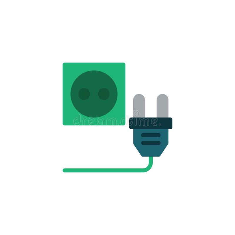 Электрический модуль с плоской иконкой розетки питания бесплатная иллюстрация