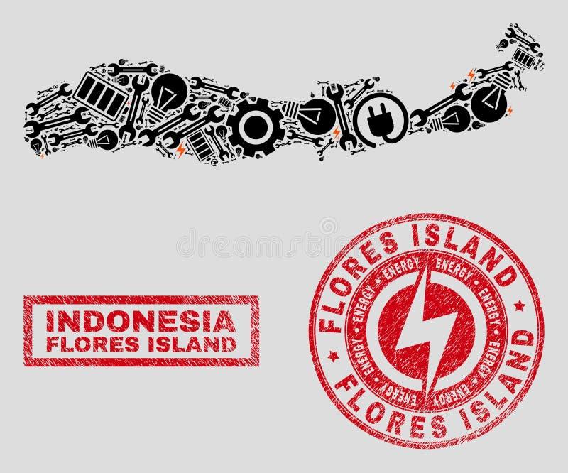Электрический остров Flores мозаики карты Индонезии и снега и текстурированных уплотнений печати бесплатная иллюстрация