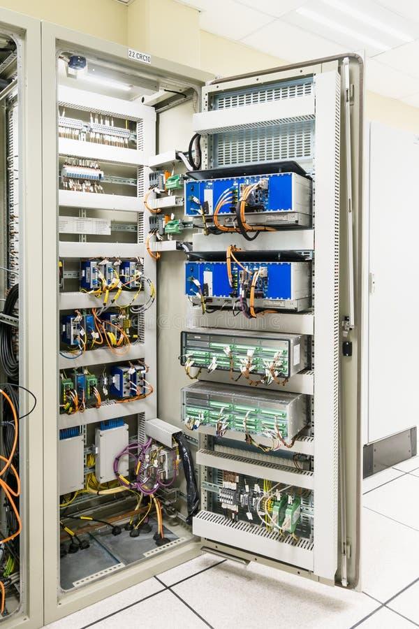 Электрический переключатель панели или оборудования электрических комнаты/переключателя стоковые изображения rf