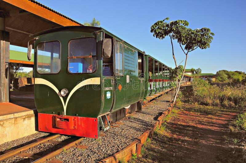 Электрический поезд узкой колеи к падениям Igauzu стоковое фото rf