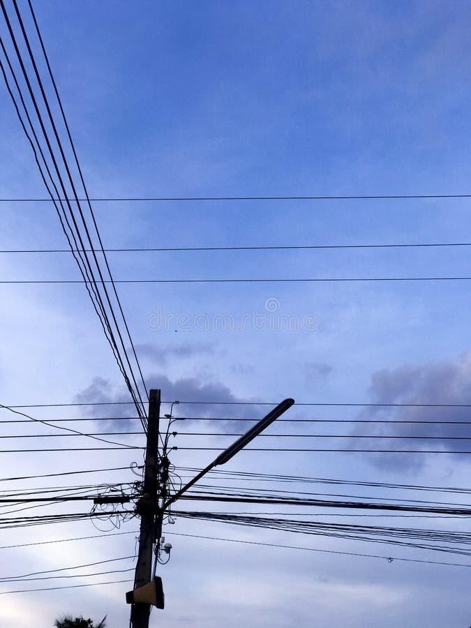 Электрический поляк в деревне стоковые фотографии rf