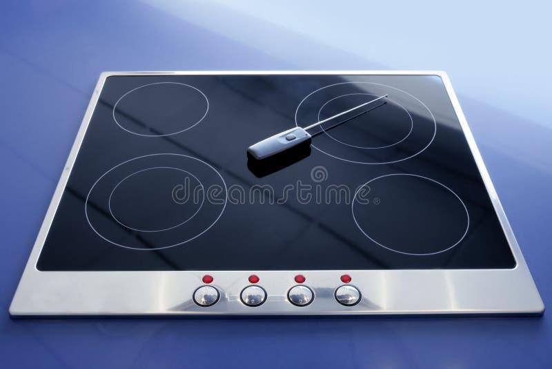 электрический радиотелеграф печки кухни vitroceramic стоковое фото