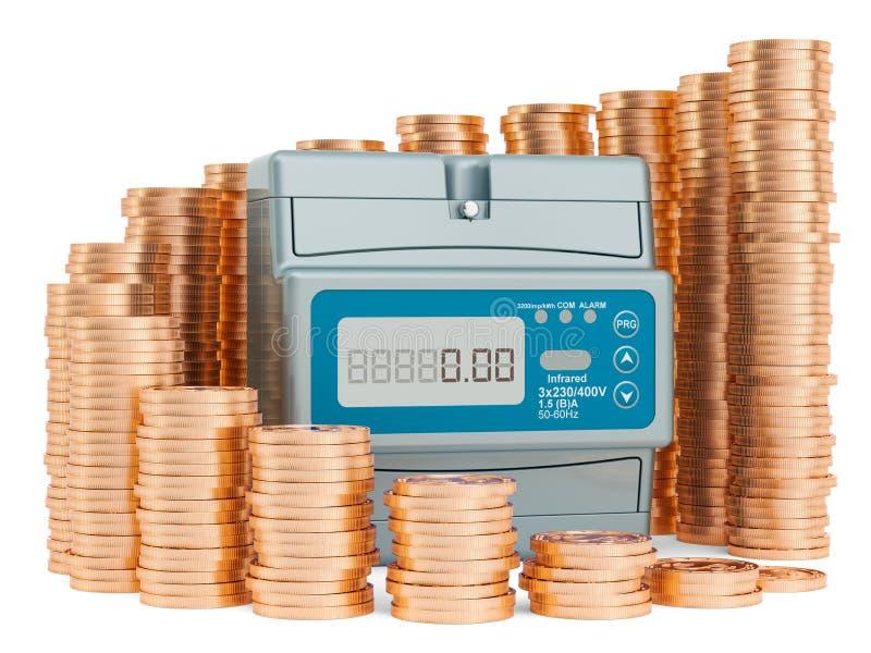 Электрический счетчик с растя диаграммой от золотых монет вокруг Сохраняя концепция энергопотребления r бесплатная иллюстрация