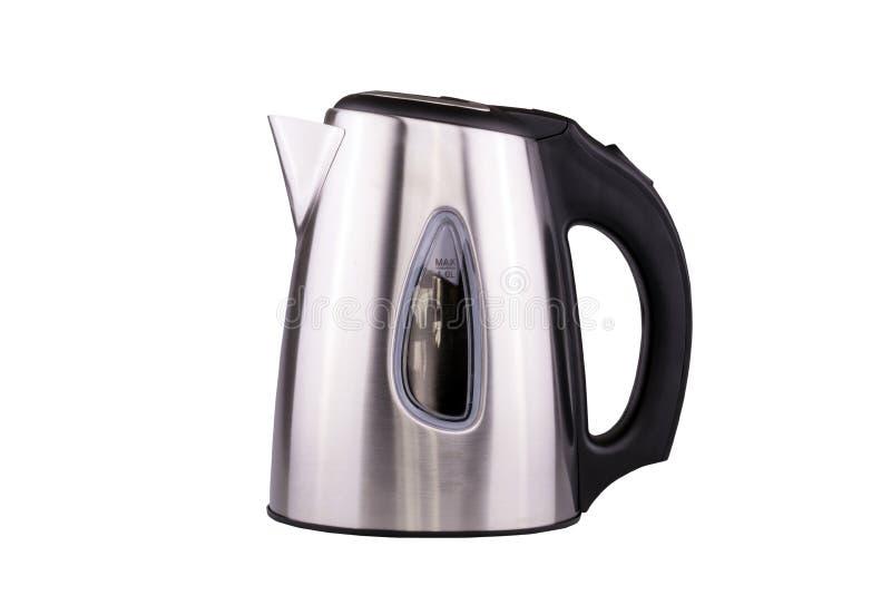 Электрический чайник нержавеющей стали изолированный с путем клиппирования стоковая фотография