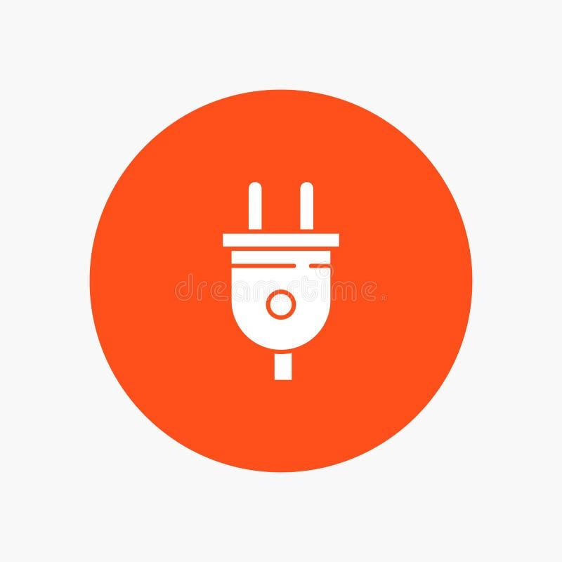 Электрический, штепсельная вилка, сила, значок глифа штепсельной вилки белый иллюстрация вектора