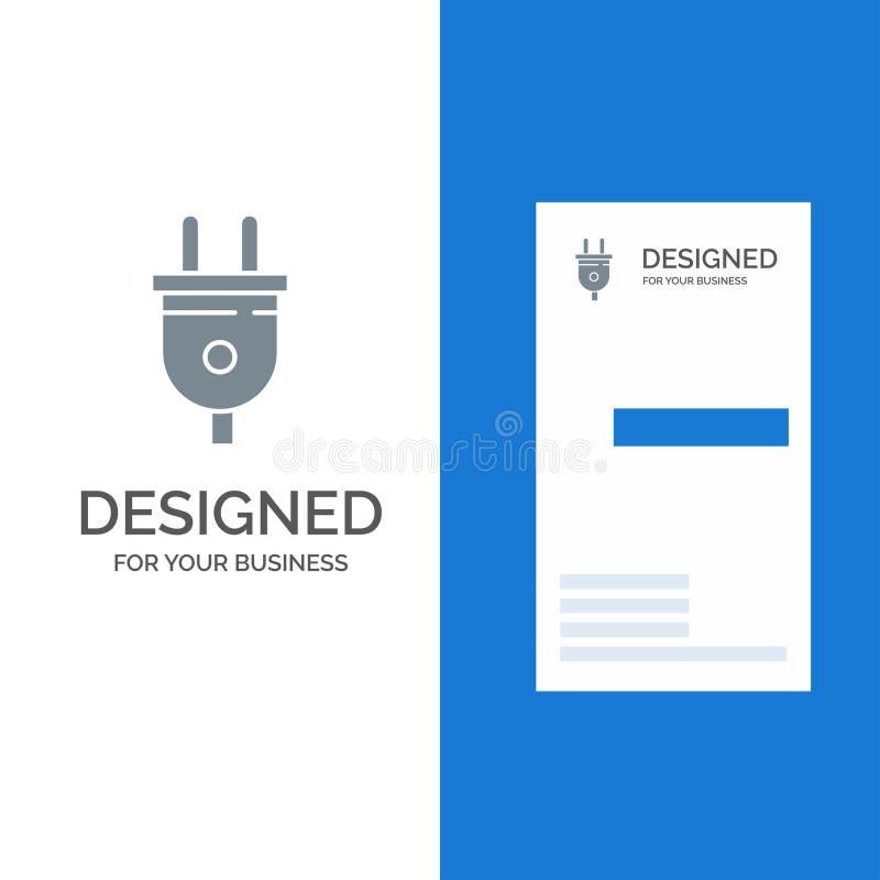 Электрический, штепсельный вилка, сила, дизайн логотипа штепсельной вилки серые и шаблон визитной карточки иллюстрация штока