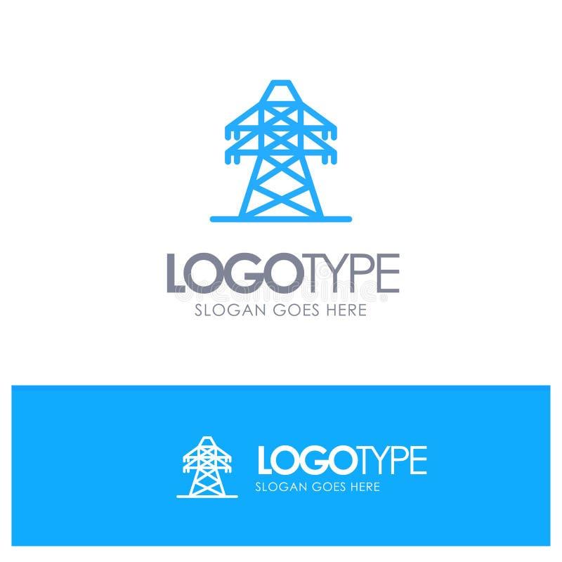 Электрический, энергия, передача, место логотипа плана башни передачи голубое для слогана бесплатная иллюстрация