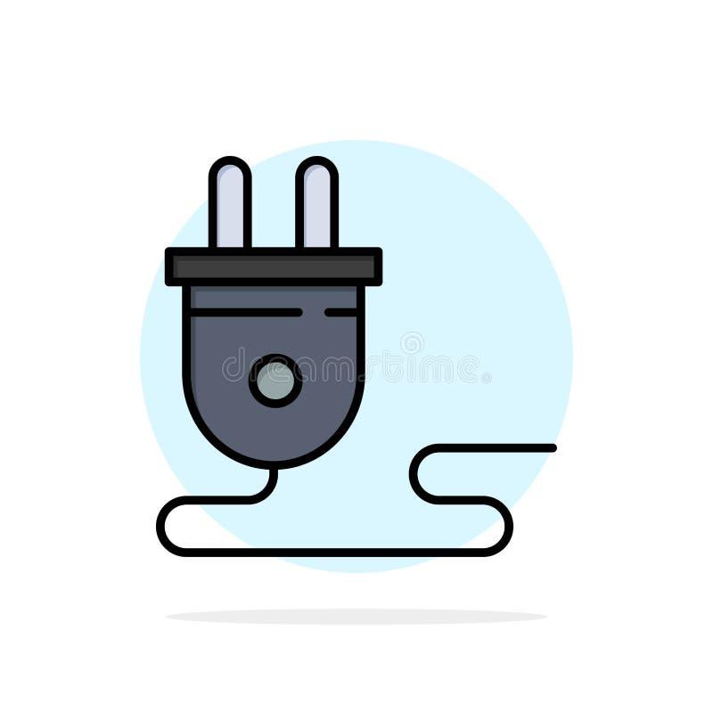 Электрический, энергия, штепсельная вилка, электропитание, значок цвета абстрактной предпосылки круга плоский иллюстрация штока