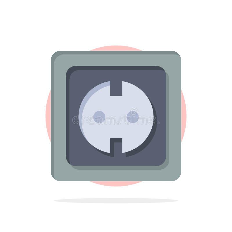 Электрический, энергия, штепсельная вилка, электропитание, значок цвета предпосылки круга конспекта гнезда плоский бесплатная иллюстрация