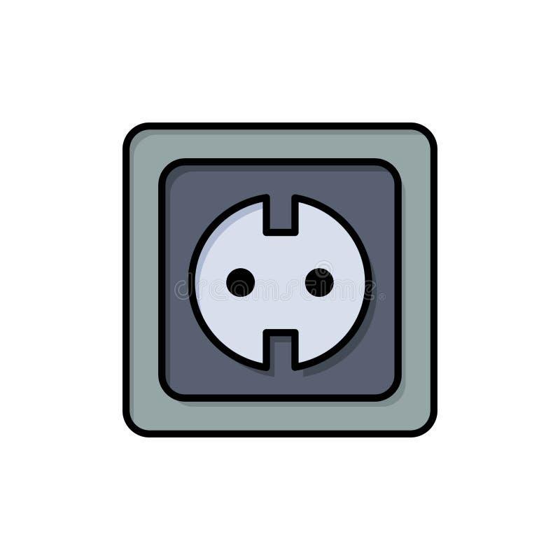 Электрический, энергия, штепсельная вилка, электропитание, значок цвета гнезда плоский Шаблон знамени значка вектора бесплатная иллюстрация