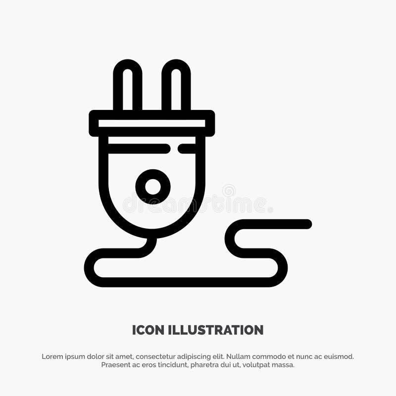 Электрический, энергия, штепсельная вилка, электропитание, линия вектор значка иллюстрация штока