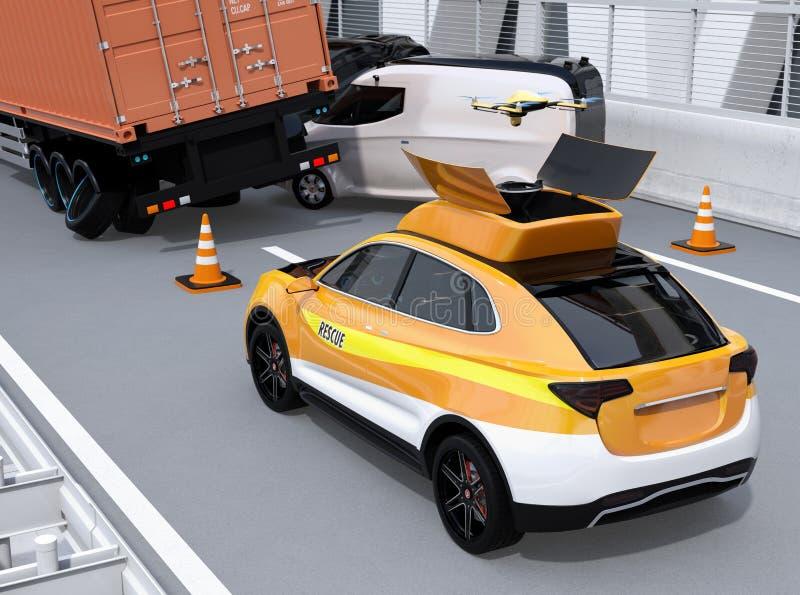 Электрическое спасение SUV выпустило трутня к записывая аварии на шоссе иллюстрация вектора