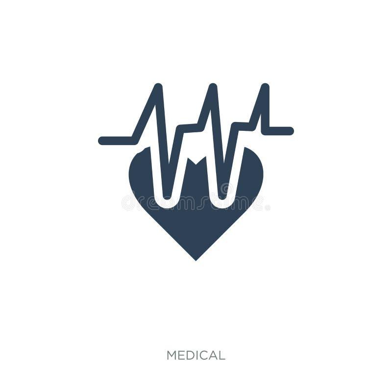 электрокардиограмма на значке сердца в ультрамодном стиле дизайна электрокардиограмма на значке сердца изолированном на белой пре иллюстрация вектора